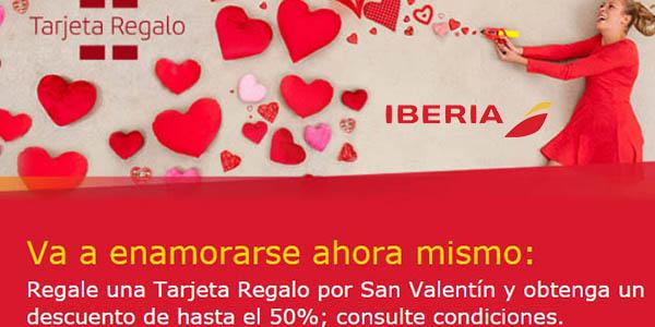 Iberia Promoción tarjetas regalo San Valentín 2018