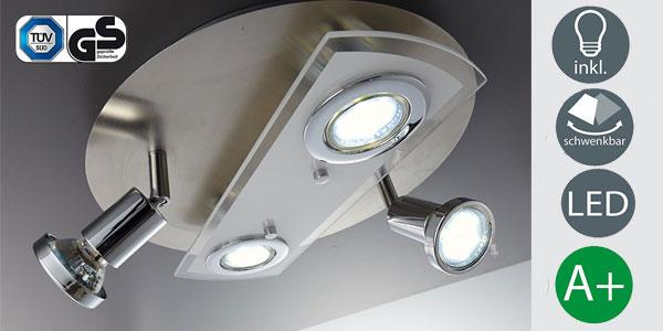 Lámpara de techo LED B.K. Licht con 2 focos fijos y 2 orientables barata en Amazon