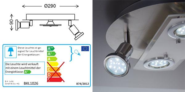 Lámpara de techo LED B.K. Licht con 2 focos fijos y 2 orientables chollo en Amazon