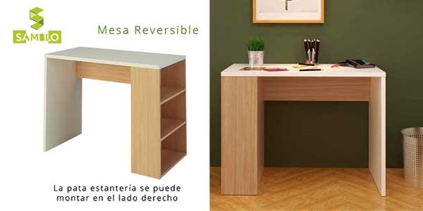 Mesa escritorio de melamina con estanteria en blanco y nogal chollo en Amazon
