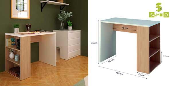 Mesa escritorio de melamina con estanteria en blanco y nogal chollazo en Amazon