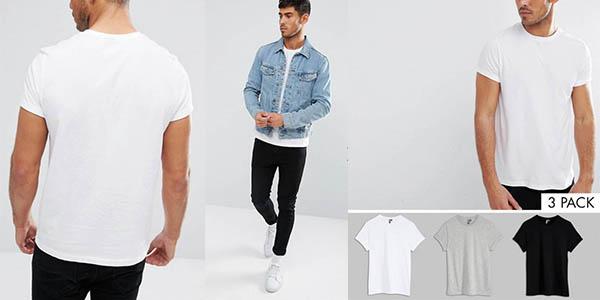 pack 3 camisetas Asos de manga corta para hombre oferta