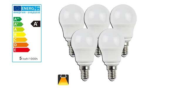 Pack de 5 bombillas esféricas Aigostar LED A5 G45 barato en Amazon
