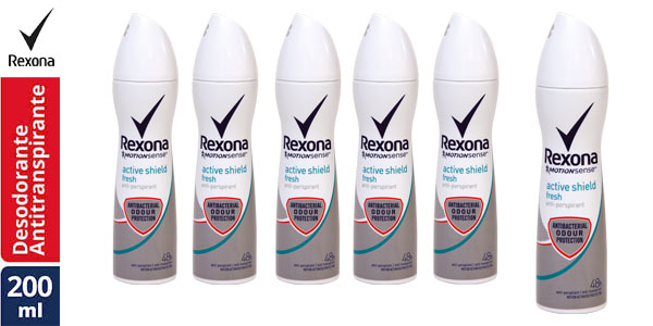 Pack de 6 botes de desodorante en spray Rexona Active Shield Fresh para mujer barato en Amazon