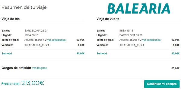 promoción Baleària coche gratis trayectos España