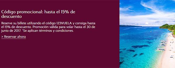 Qatar Airways código promocional 123VUELO grandes descuentos