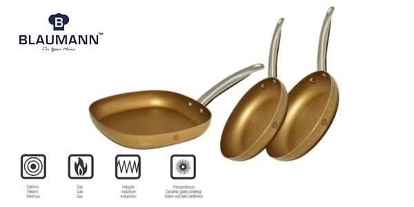 Set de 2 sartenes redondas y 1 Grill Cuadrado Le Chef Acero Inox oro barato en eBay España