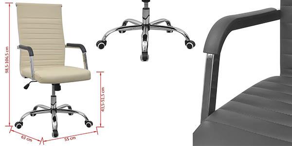 silla acolchada para escritorio ajustable en altura y giratoria a precio brutal