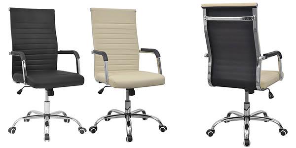 silla de oficina en cuero artificial con ruedas y base de metal oferta
