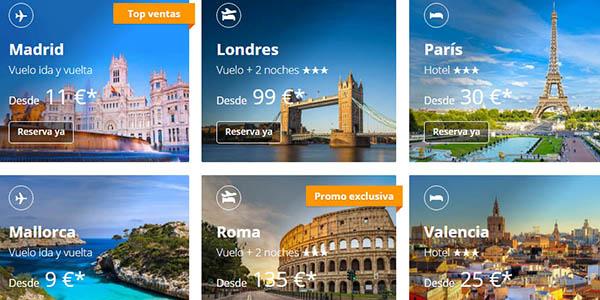 viajes ofertas eDreams cupón descuento FLASH30 promoción