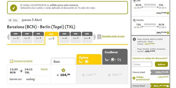 Vueling código descuento VALENTIN2018 para vuelos de 3 pasajeros