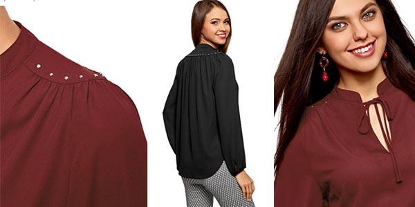 Blusa de gasa con adornos metálicos de Oodji Ultra al mejor precio en Amazon