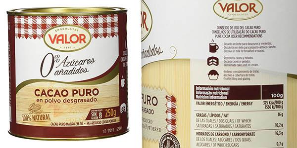 bote de cacao puro Chocolates Valor de 250 gramos a precio de chollo
