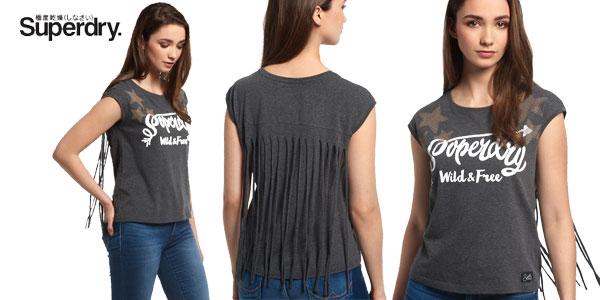 Camiseta Savanna Fringe Charcoal en color gris para mujer barata en eBay