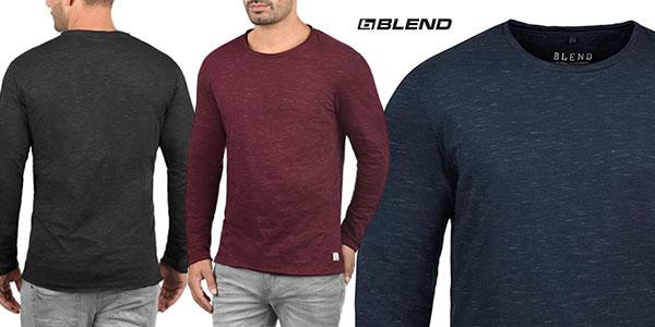 Camiseta de manga larga Blend Barney de aspecto melange para hombre en oferta