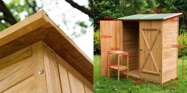Caseta armario de herramientas de jardín 165x140x75 de madera maciza chollazo en eBay España