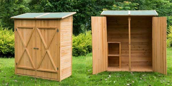 Caseta armario de herramientas de jardín 165x140x75 de madera maciza barata en eBay España