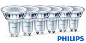 Chollo Pack de 6 bombillas LED Philips GU10 de 4,6 W y 355 lúmenes