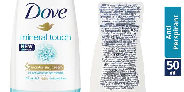 Pack de 6 Desodorantes Dove Mineral Touch Desodorante en Roll On 50 ml chollo en Amazon