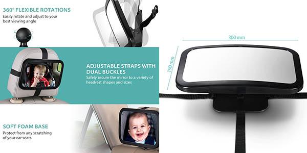 espejo retrovisor para asiento trasero del coche para ver al bebé desde la sillita a contramarcha oferta