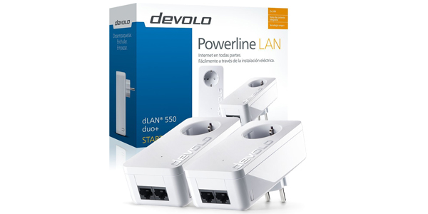 Adaptador starter Kit PLC Powerline Devolo dLAN 550 duo+ barato en Amazon