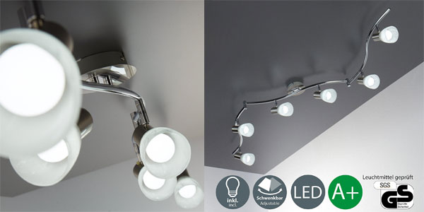 Lámpara de techo LED B.K. Licht con 7 focos orientables y bombillas incluidas barata en Amazon