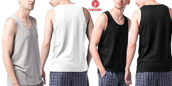 Pack de 4 camisetas de tirantes Lapasa 100% algodón para hombre baratas en Amazon
