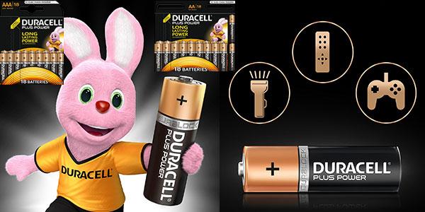 Paquete de 18 pilas Duracell alcalinas AAA y AA en oferta