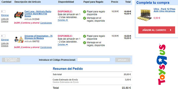 promoción ToysRus selección de juguetes 2 por 20€