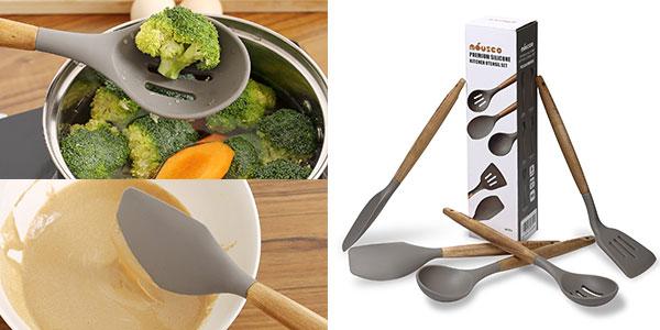 Set de 5 utensilios de cocina de madera y silicona rebajado