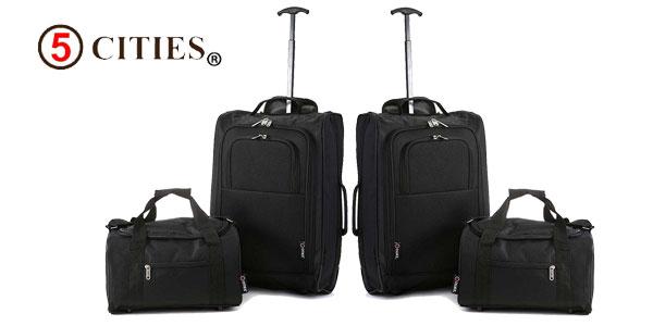 Set de viaje 5 Cities de 2 trolley de mano + 2 bolsas de viaje barato en Amazon España