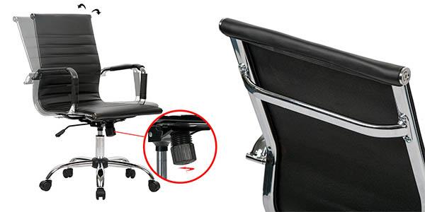 silla ergonómica en imitación piel con ruedas baratas