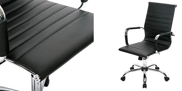 silla con ruedas ergonómica para oficina en color negro y acero chollo