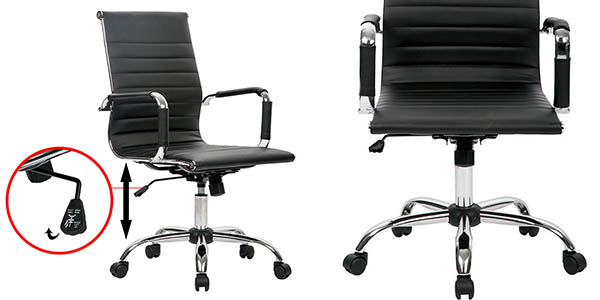 silla de trabajo con ruedas abatible y regulable en altura en oferta