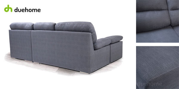 Sofá puf chaiselonge Califa de DueHome en tela aterciopelada gris marengo chollo en eBay