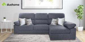 Sofá puf chaiselonge Califa de DueHome en tela aterciopelada gris marengo barato en eBay