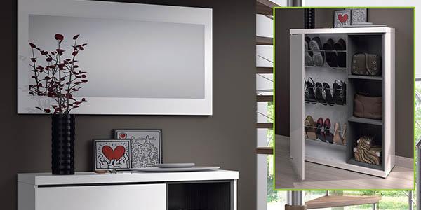 aparador recibidor con espejo y zapatero de diseño elegante a precio de chollo
