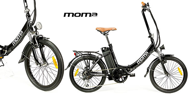 Bicicleta plegable eléctrica Moma E-Bike 20 con cuadro de aluminio y 250 W en oferta