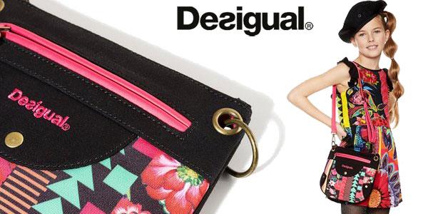 Bolso bandolera Desigual Sesa negro con estampado geométrico para niña barato en Amazon