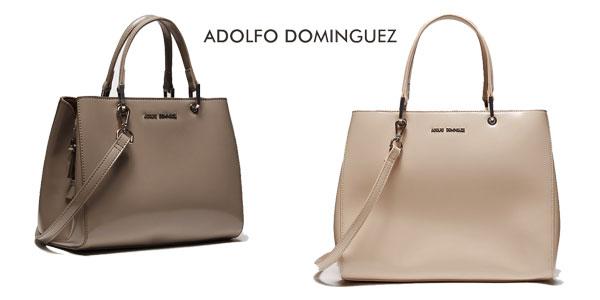 Bolso de mano Adolfo Domínguez de similpiel en color gris o beige barato en El Corte Inglés
