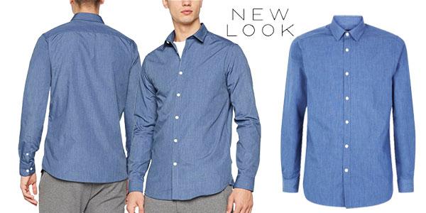 Camisa New Look Cross Dye en color azul para hombre chollo en Amazon