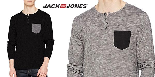 Camiseta Jack & Jones Jcoadam Tee de manga larga y cuello abuelo para hombre barata