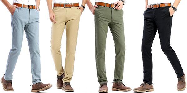 Chollo Pantalones chinos Harrms de algodón y corte ajustado para hombre