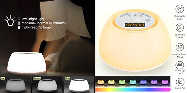 Despertador GRDE simulador de amanecer conluz de ayuda al sueño barato