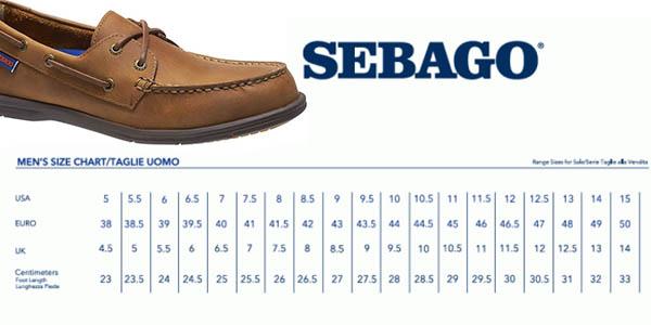 guía de tallas Sebago para calzado para hombre