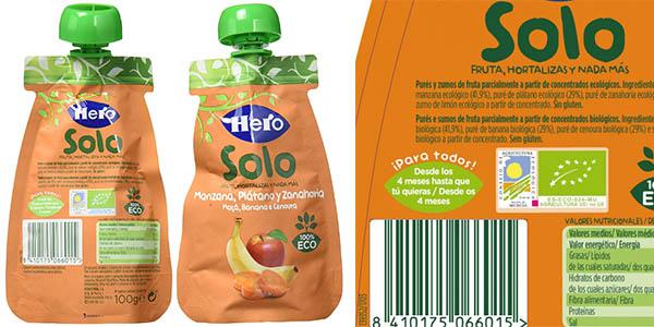 Hero Solo Baby puré de manzana, plátano y zanahoria ecológicas en bolsitas de 100 gramos baratas