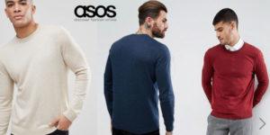 Jersey liso de algodón con puños y bajo de canalé de Asos para hombre barato en Asos