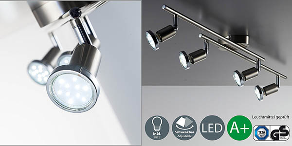 lámpara de techo en níquel con 4 focos orientables LED barata