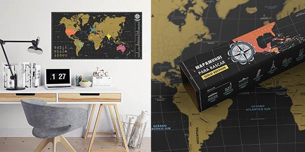 mapa grande para rascar los países visitados en viajes oferta