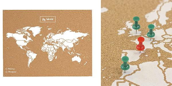 mapa mundi Miss Wood de corcho con chinchetas barato